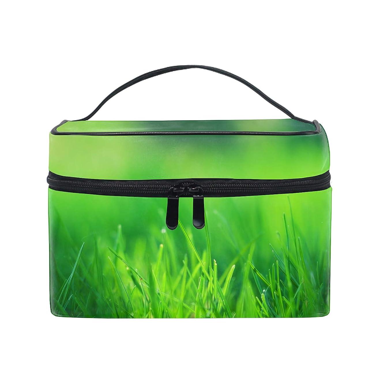 高さ干渉するテロリスト化粧ポーチ 化粧品 収納 コスメポーチ レディース ポーチ 大容量 軽量 防水緑の芝生フィールド