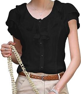 Winwinus Womens T Shirts Chiffon Ruffle Slim Office Blouse Top