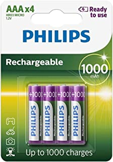 Philips Rechargeables Battery R03B4RTU10/10 - Rechargeable Batteries (Nickel Metal Hydride, AAA, Cd (Cadmium), Hg (Mercury...