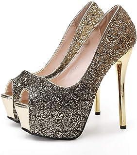 6c0aedd15642 Sam Carle Womens Pumps,Super High Thin Heel Open Toe Bling Sequined  Rhinestone Nightclub Pump