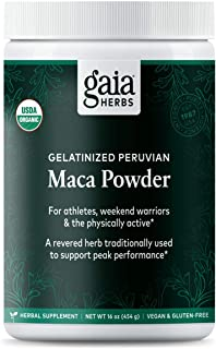 Gaia Herbs Organic Maca Powder, 16 Ounce - Peruvian-Grown Superfood Supports Energy, Stamina, Healthy Libido, Hormone Balance - Gelatinized, Vegan