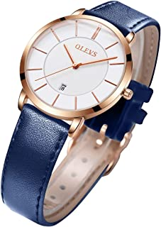 OLEVS Womens Watches for Ladies Minimalist Ultra Thin Big Face Date Dress Wrist Watch Slim Simple Quartz Analog Watch Waterproof Classic Strap