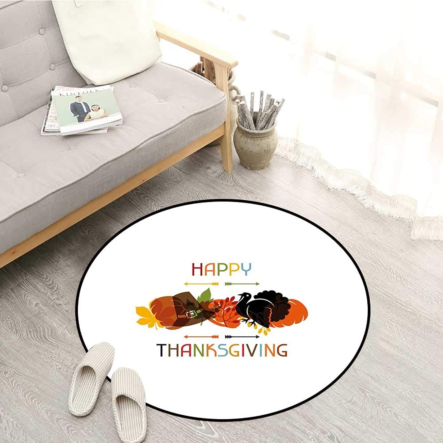 Turkey Non-Slip Rugs Bird Pumpkin Traveller`s Hat Silhouette with Celebratory Thanksgiving Illustration Sofa Coffee Table Mat 4'3  Multicolor