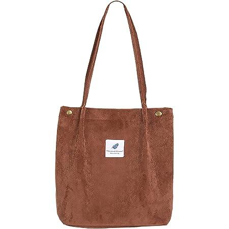 MNEUSHOP Groß Cord Tasche Damen Cord Umhängetasche Umwelt Schultertasche Lässige Handtasche Fashion Stofftasche Canvas Bag für Alltag Schulausflug-Brown