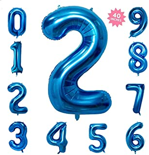 40 Inch Blue Jumbo Digital Number Balloons 2 Huge Giant Balloons Foil Mylar Balloons for Birthday Party,Wedding, Bridal Shower Engagement Photo Shoot, Anniversary