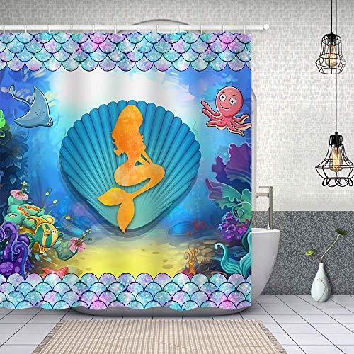SDDSER Cartoon Meerjungfrau Duschvorhang für Mädchen Unterwasserwelt Fischschuppen Muschel Prinzessin Duschvorhang 182,9 x 182,9 cm mit 12 Haken YLLSSD14-72
