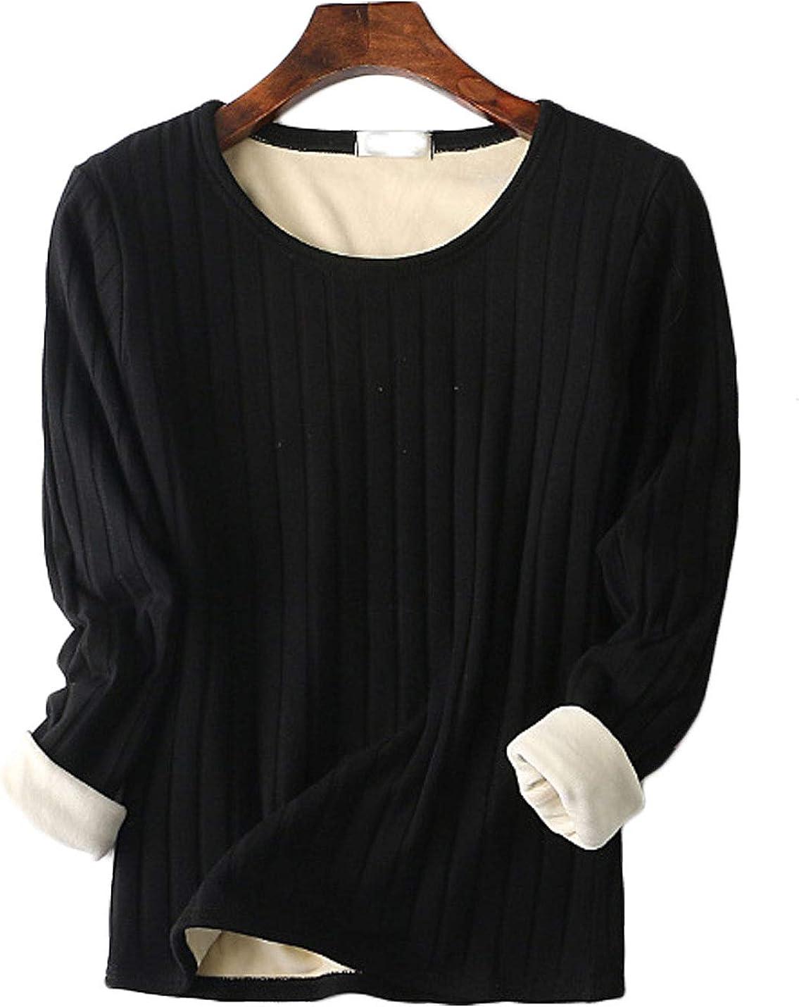 Jenkoon Womens Winter Warm Fleece Fur Lined Thermal Underwear Shirt