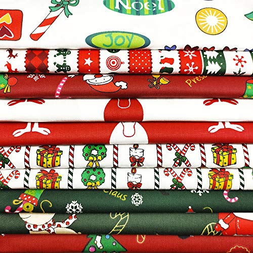 10PCS Christmas Cotton Fabric Bundles 20 x 20 Inch Sewing Squares Multi-Color Patchwork Christmas Tree Precut Fat Quarters Santa Claus Fabric Scraps for Christmas DIY Quilting Craft