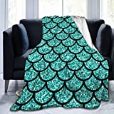 Colorful Mermaid Scales Soft Throw Blanket All Season Microplush Warm Blankets Lightweight Tufted Fuzzy Flannel Fleece Throws Blanket for Bed Sofa Couch