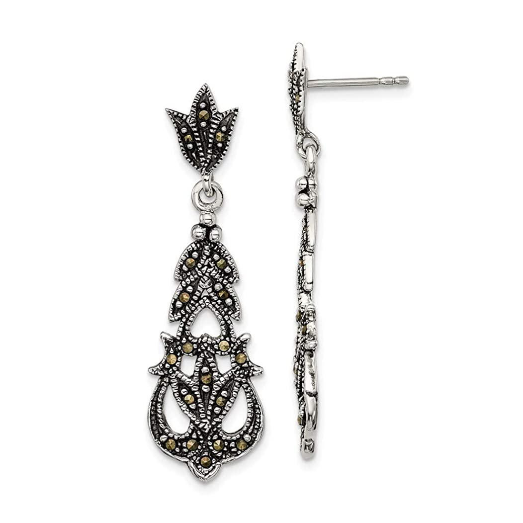 925 Sterling Silver Marcasite Post Stud Earrings Drop Dangle Fine Jewelry Gifts For Women For Her