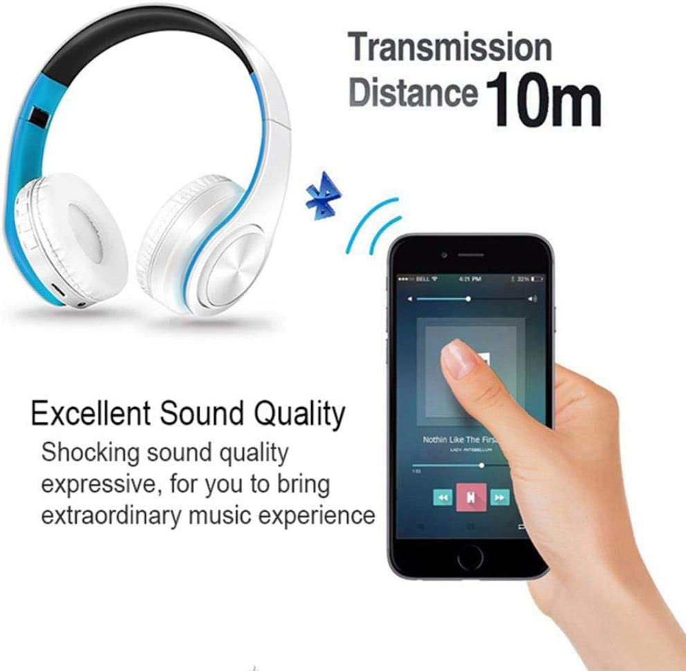 FXMINLHY 5.0 Bluetooth Earphone HIFI Strong Bass Stereo Wireless Headphones Gaming Headset with Handsfree Mic/TF Card/FM for Phone Tablet,V5.0 blue black rose red black