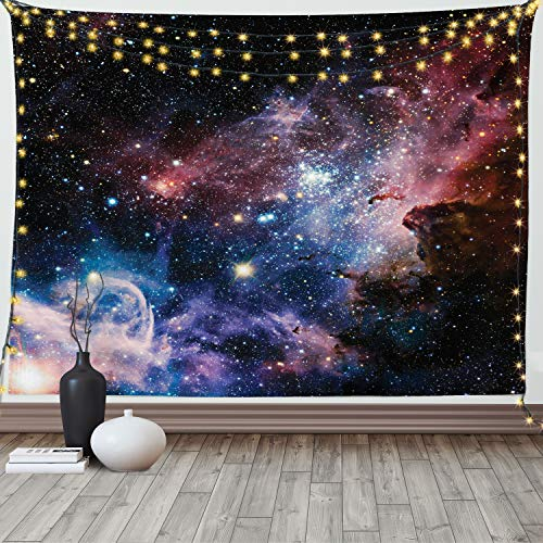 Ambesonne Outer Space Tapestry, Stars Nebula Colorful Pattern in Space Galaxy Astronomic Picture Print, Wide Wall Hanging for Bedroom Living Room Dorm, 80' X 60', Navy Pink