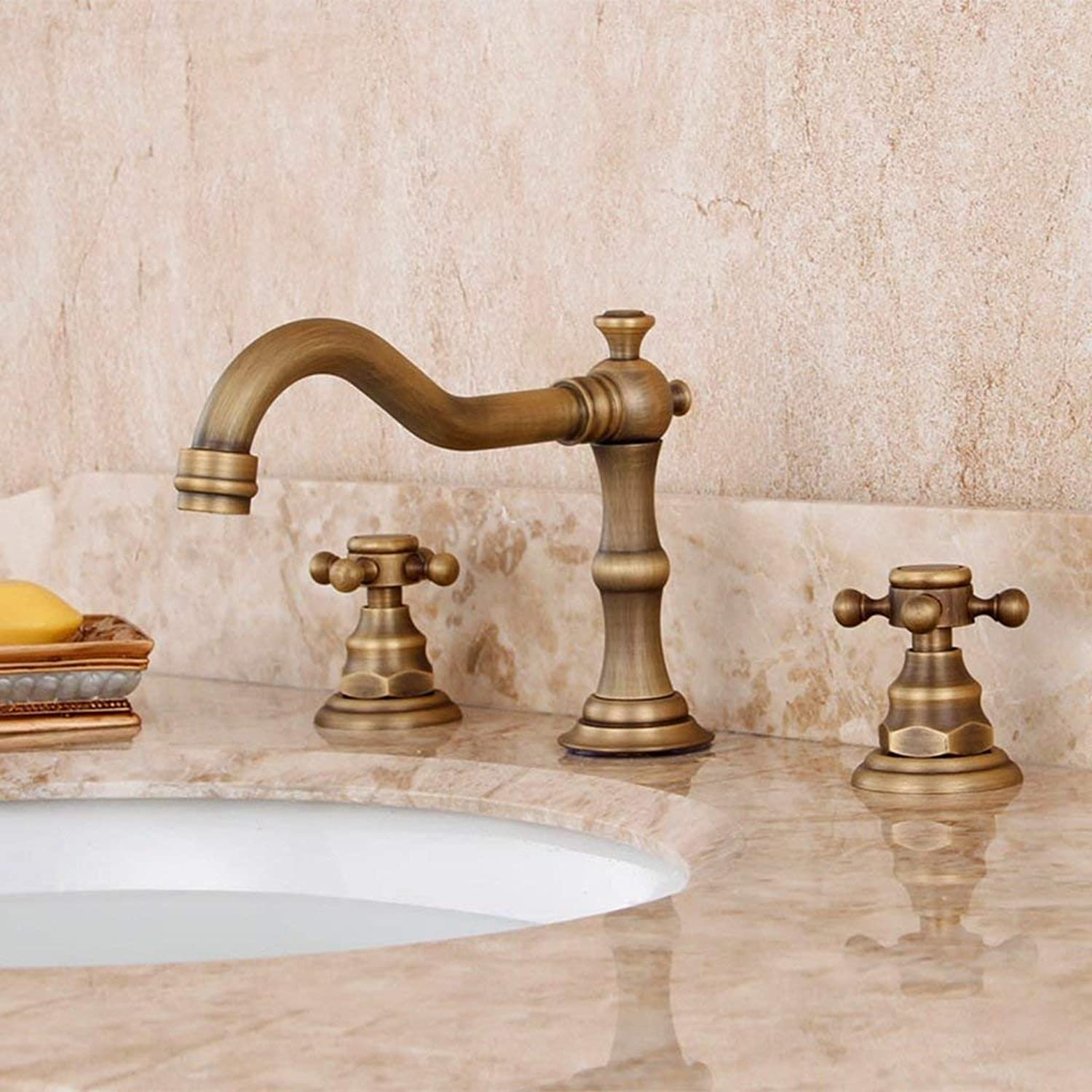 DYR Faucet Faucet European Antique Double to Three Hole Faucet All Copper Retro Hot and Cold Faucet (color  A)