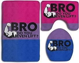 Saety Bathroom Rugs Bro Do You Even Lift Baby Mat Sets,Non Slip Soft Floor U-Shaped Contour Pad Toilet Lid Cover + Pedestal Rug + Bath Mat for Bathroom