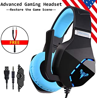 Cosbary Stereo Over Ear Gaming Headset with Mic Suitable for PS4,Xbox one,PC, Laptop,Mobile Phones(an Free 1-in-2 Adapter Included) Noise Canelling Mic-Headphones LED Light-Soft Memory Earmuffs