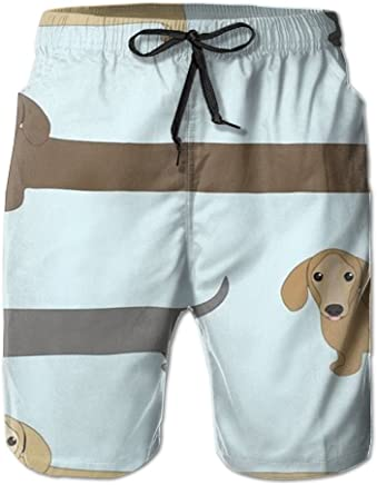 cfe49f4600c82 PPANFKEI Sausage Dog Dachshund Long Mens Boardshorts Swim Trunks Men  Tropical Running Beach Board Shorts Surf