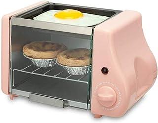 Mini horno eléctrico multifunción para hornear, asar, horno frito, para desayuno, tortilla, huevos, sartén, pan, tostadora, color rosa