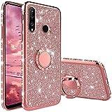 TVVT Glitter Crystal Funda para Huawei P30 Lite, Glitter Rhinestone Bling Carcasa Soporte Magnético de 360 Grados Ultrafino Suave Silicona Lujo Brillante Rhinestone - Rosa
