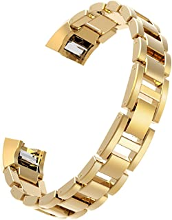 Wearlizer Compatible with Fitbit Alta Bands and Fitbit Alta hr Bands,Metal Alta Replacement Band Wrist Bands Strap Assesories for Fitbit Alta Activity and Sleep Tracker Polished Gold
