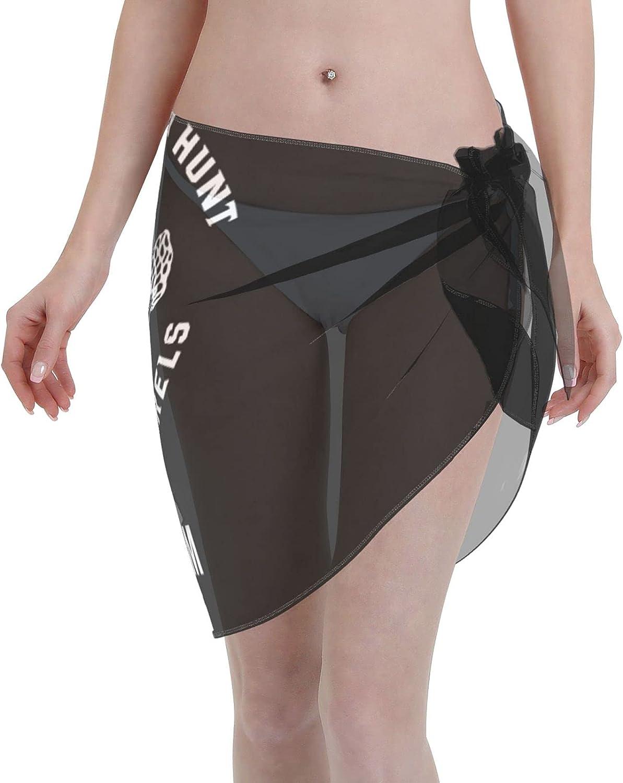 Mushroom Hunter Morel Mushroom Farming Women Short Sarongs Beach Wrap Swimsuit Cover Ups for Women Black