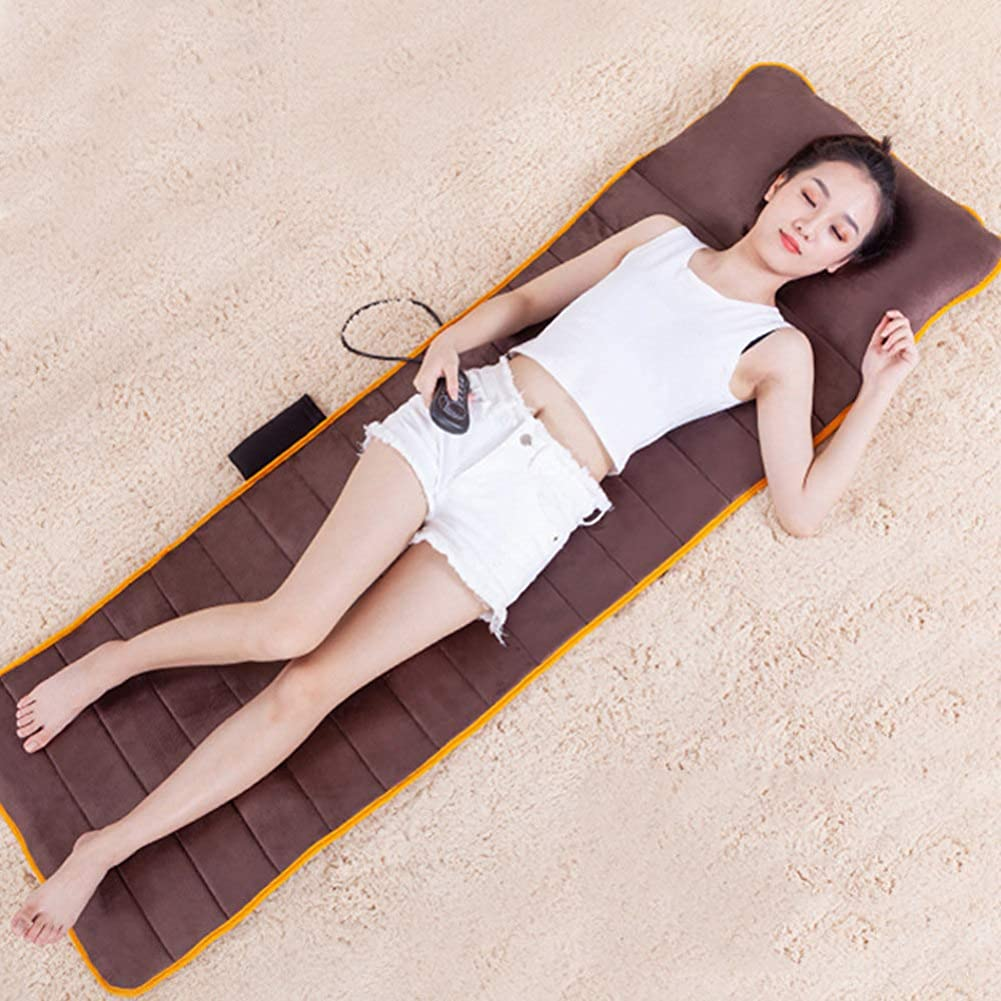 マッサージマット - 熱 - 振動可能なマッサージパッド - 首、背中、足の痛みを軽減するための10振動モーターマットレスパッド