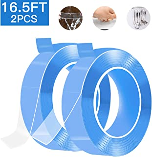 Nano Double Sided Tape 16.5ft Adhesive Removable Traceless Clear Sticky Stips Gel Grip Tape Anti-Slip Washable Reusable Sticky Gel Pads for Kitchen Holder Fixing Carpet Phones Pictures 2PCS