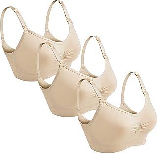 YAFENG Pregnant Women's Nursing Bras Wireless Bra Seamless Maternity Bra Breastfeeding with Front Opening Buckle - 3 Packs