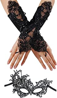 CSPRING Black Lace Masquerade Fingerless Pearls Satin Embroidered Bridal Gloves with Phoenix Lace Mask for Wedding Banquet Party Costume