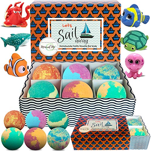 Kids Bath Bombs with Toys Inside - Gentle and Kid Safe, Gender Neutral, Bubble Bath Fizzies with Surprise Inside. Spa Bath Fizz Balls Kit. Birthday or Christmas Gift for Girls and Boys