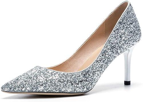AJUNR Femmes Loisirs des Chaussures à Talons Haut Femmes Printemps Version Coréenne Baitao Cuir 5 Cm Chaussures en Cuir
