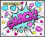 Valentines Day Decor Pink Lace style Girls room decor Funny Girly girl Batman Superhero comics art Hipster Teen girls dorm decor heart art pop art love poster Smack kiss art print