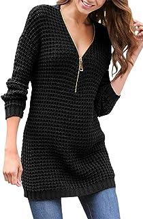 Susenstone Col V Pull Pas Cher A La Mode Femme Chaud Tunique Tricot/é Automne Hiver L/âChe Jumper Pullover Tops /À Manches Longues
