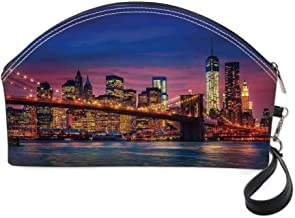 New York Small portable cosmetic bag,NYC That Never Sleeps Image Neon Lights Reflections on East River City Image Print for Women,10.8