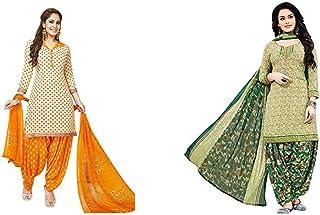 Jevi Prints Women's Dress Material (Pack of 2)(Varsha-2365&Rimzim-2007_Item 1 Color Beige|Item 2 Color Olive_Free Size)