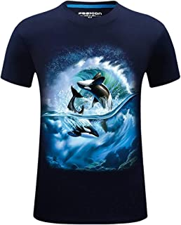 eddb52ac Graysky Men's Summer Whale 3D Printed T-Shirt Casual Plus Size Crew Neck Tee  Shirts