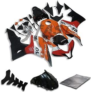 9FastMoto Fairings for honda 2007 2008 CBR600RR F5 07 08 CBR 600RR F5 Motorcycle Fairing Kit ABS Injection Set Sportbike Cowls Panels (Orange & Black) H0558