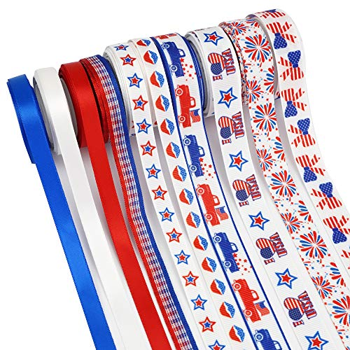 "Midi Ribbon 10 Rolls Patriotic Ribbon Set 50 Yards 4th July National Day Red White Blue Patriotic Flag Ribbon 3/8"" 5/8"" Grosgrain Ribbons Satin Ribbon, Hair Ribbon for Bows Gift Wrapping Decorations"