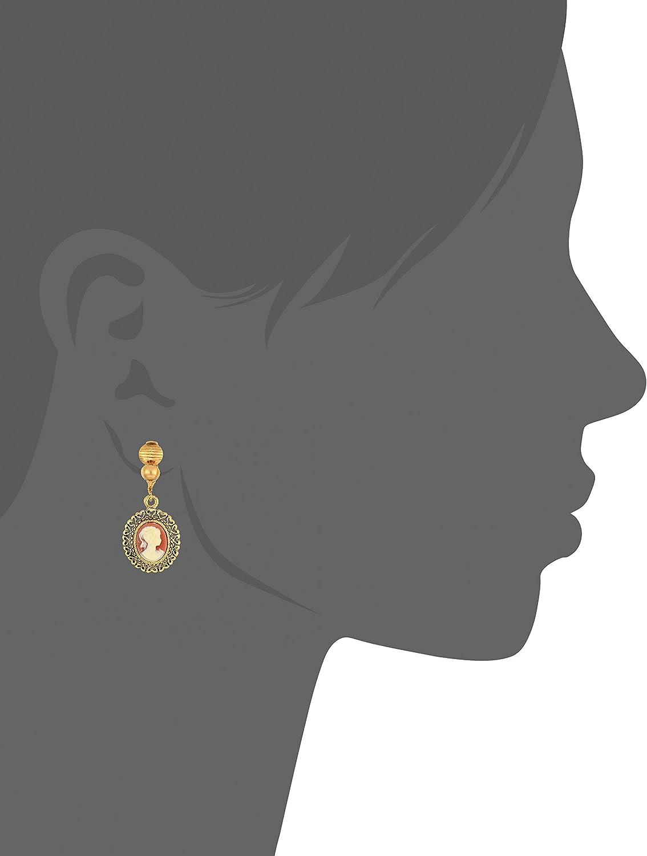 1928 Jewelry Women's Brass Faux Cameo Oval Clip Earrings, Orange, One Size