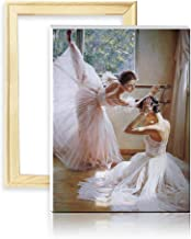 ufengke Wooden Frame Ballet Dancer 5D Diamond Painting Kits by Numbers Full Drill Diamond Embroidery Cross Stitch Mosaic Making, 25 35cm Design