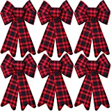 Aneco 6 Pieces Red Buffalo Plaid Christmas Bows Holiday Christmas Wreaths Bows Xmas Red Velvet Christmas Bows for Christmas Party Decoration