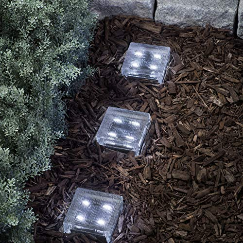 "Glass Solar Brick with LED Lights - Path & Garden Accent Lighting, 4"" x 4"" Square, Lined Texture, Cool White, Waterproof, Outdoor - Rechargeable Batteries Included"