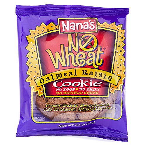 Nana's No Wheat Oatmeal Raisin Cookies - No Eggs, Dairy or Wheat - 3.5 Oz Packages - Pack of 12 Vegan Cookies