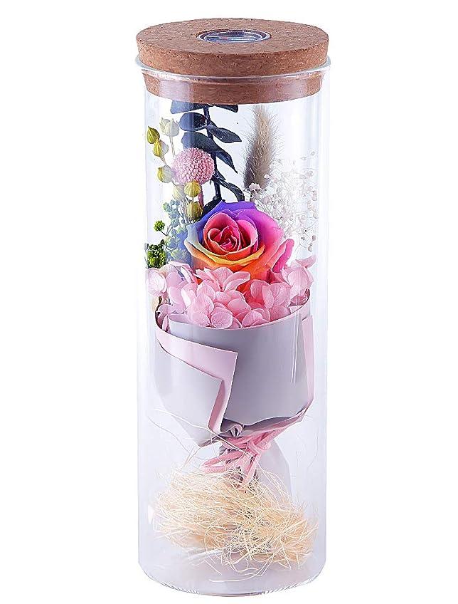 残酷ジャグリング五IKRR プリザーブドフラワー LED 12色に光るライト枯れない 花 バラ ライトガラスポット ギフト バレンタインデー 誕生日プレゼント女性 母の日 記念日 出産祝い 結婚祝い お見舞い
