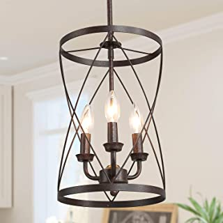 ISURAUL Industrial Chandeliers Foyer Pendant Light Hanging Fixture for Dining Room, Adjustable Height, Bronze Finish with Thin Metal Shade