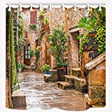 Dana34Malory Duschvorhang, toskanische Dekoration, Historische mediterrane Straße voller Blumen in der Stadt, Polyesterstoff, Badvorhänge mit Haken, 168 x 183 cm