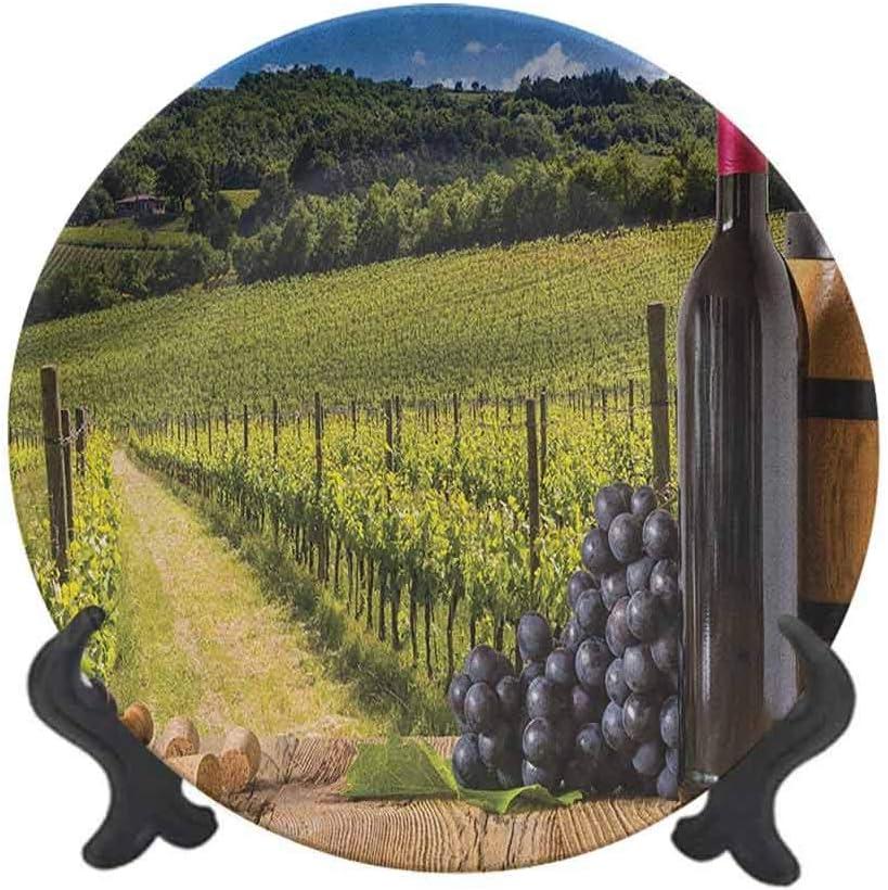 Winery - Plato decorativo de cerámica de 20,32 cm, botellas de vino tinto con uvas en tabla de madera de la Toscana italiana, decoración de pared de cerámica accesorio para cenar, fiestas, bodas