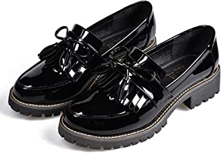 Women's Penny Loafers Flat Low Heel Bow Tassel Patent Leather Slip On Oxfords Shoes