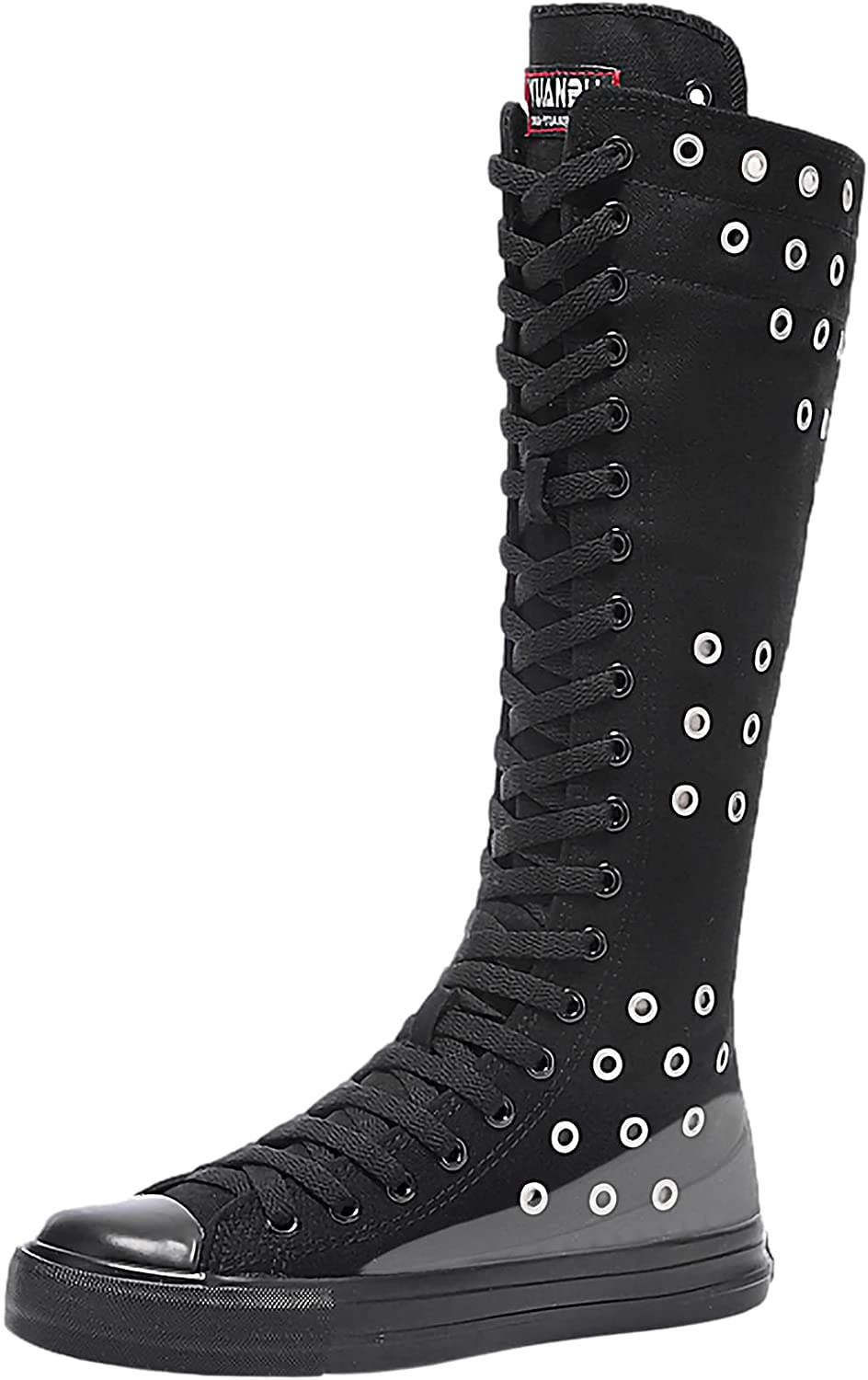 ANUFER Womens Canvas Wedge Zipper Knee with Rare Recommendation Boots