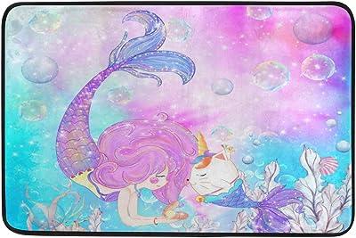 ZOEO Bath Mat Non Slip Super Absorbent Cream Cute Unicorn Head Twinkle Star Bathroom Rug Indoor Carpet Doormat Floor Dirt Trapper Mats Shoes Scraper 24x16 inch, Polyester, Kawaii Pink Mermaid, 23.6x15.7 inch