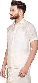 SJS-Men's Half Sleeve Solid Art Silk Shirt (Beige, 36)